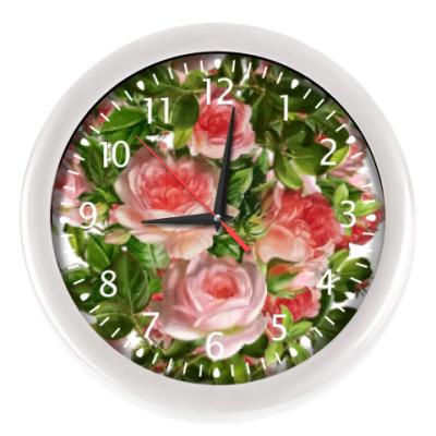 Настенные часы Розовый букет