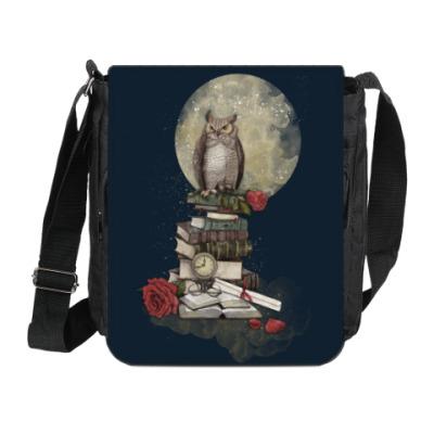 Сумка на плечо (мини-планшет) Мудрая сова и книги