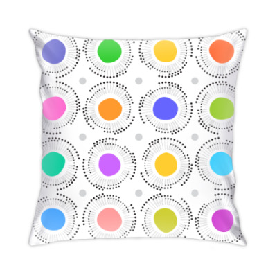 Подушка Цветные кружочки с лучиками