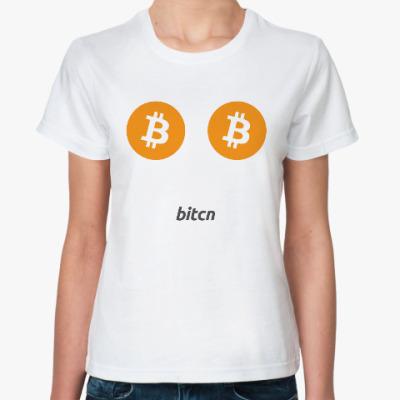 Классическая футболка Bitcoin везде
