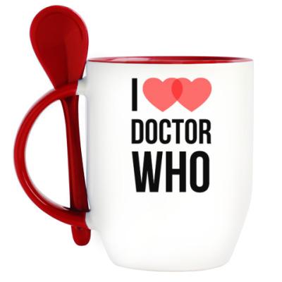 Кружка с ложкой Доктор Кто I love DOCTOR WHO