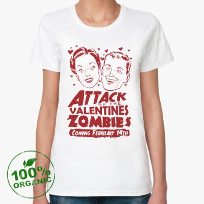 Женская футболка из органик-хлопка Зомби Св. Валентина атакуют!