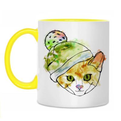 Кружка Кот в шапке