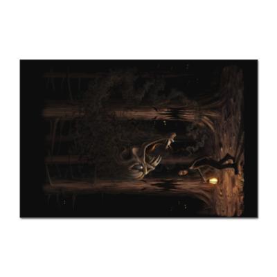 Наклейка (стикер) Ночная тварь из леса