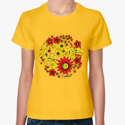 Женская футболка Цветник