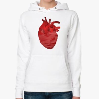 Женская толстовка худи Сердце 3D
