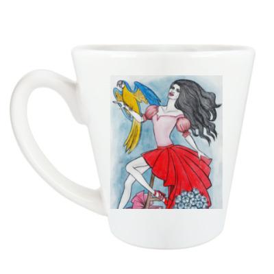 Чашка Латте Девушка с попугаем