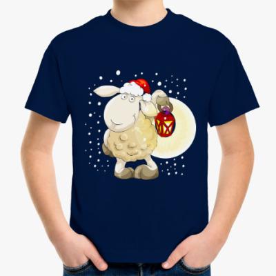 Детская футболка Смешная новогодняя овечка 2015