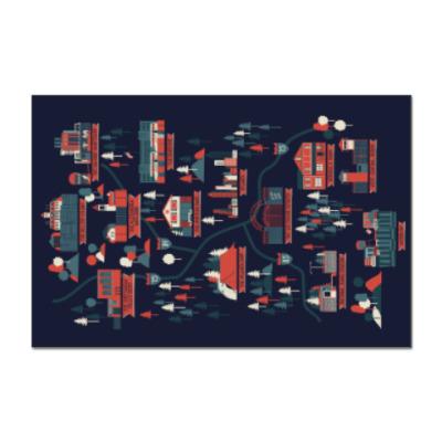 Наклейка (стикер) Карта сериала Ходячие мертвецы