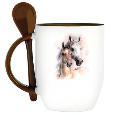 Кружка с ложкой Лошади