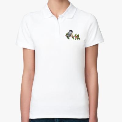 Женская рубашка поло Синица на ветке