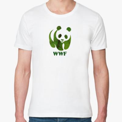 Футболка из органик-хлопка WWF. Панда. Зеленый лист