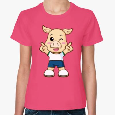 Женская футболка Поросенок