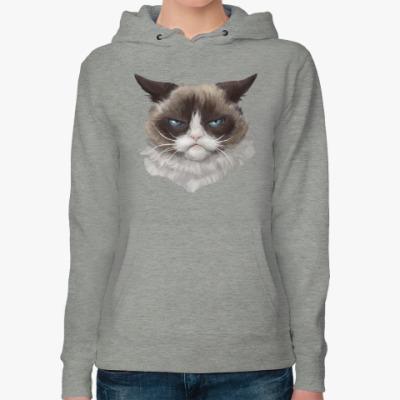 Женская толстовка худи Grumpy Cat / Сердитый Кот