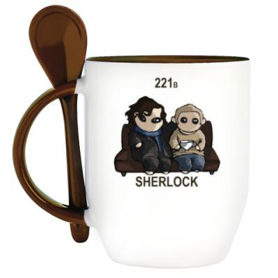 Кружка с ложкой Sherlock
