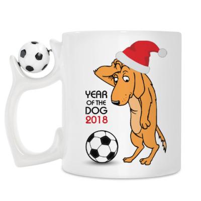 Кружка Символ 2018 года желтая земляная собака