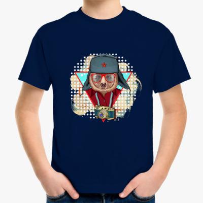 Детская футболка Медведь битник СССР