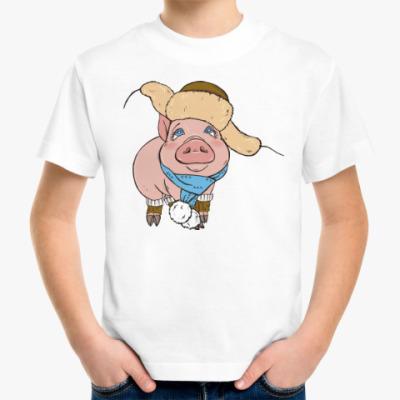 Детская футболка Новогодняя Свинка
