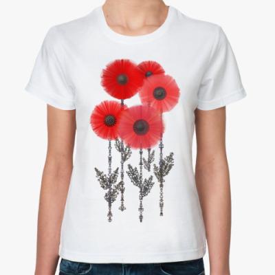 Классическая футболка Алые стилизованные маки