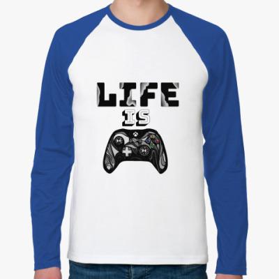 Футболка реглан с длинным рукавом Life is a game