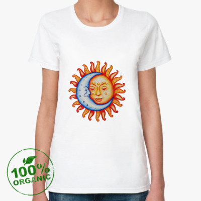 Женская футболка из органик-хлопка Солнце-луна
