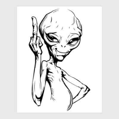 Постер смешной пришелец (funny alien)