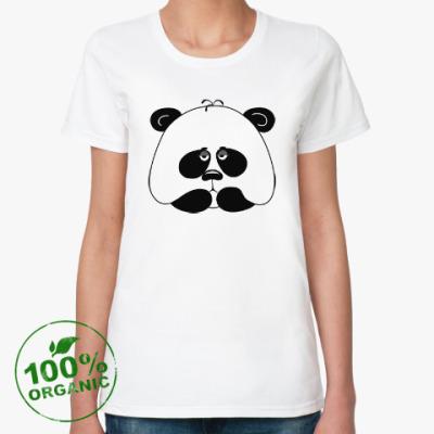 Женская футболка из органик-хлопка Грустная панда