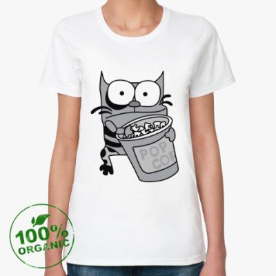Женская футболка из органик-хлопка Упячка Кот