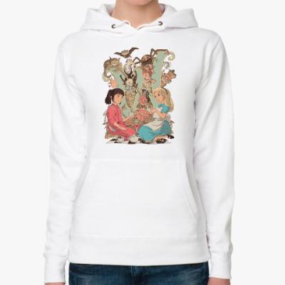 Женская толстовка худи Wonderland Alice and Chihiro