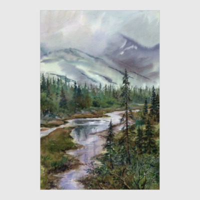 Постер Дождь идет по Хибинам (акварельный пейзаж)