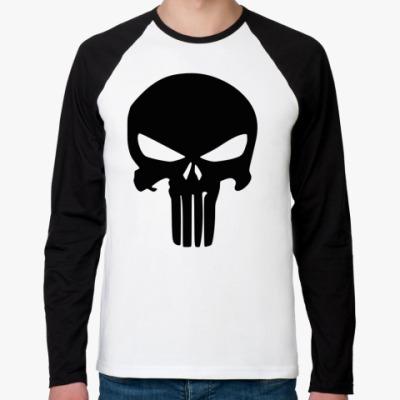 Футболка реглан с длинным рукавом Каратель Череп, Punisher Skull