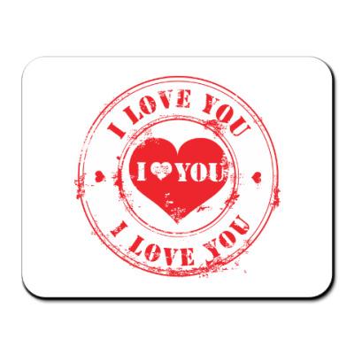 Коврик для мыши Печать I Love You