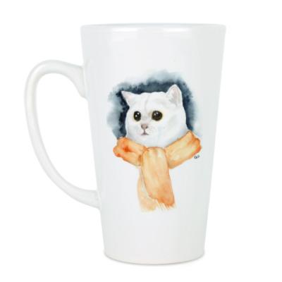 Чашка Латте Кот в шарфе