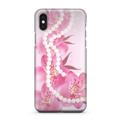 Чехол для iPhone X цветы и жемчужные бусы