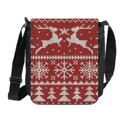 Сумка на плечо (мини-планшет) Вязаный орнамент с оленями