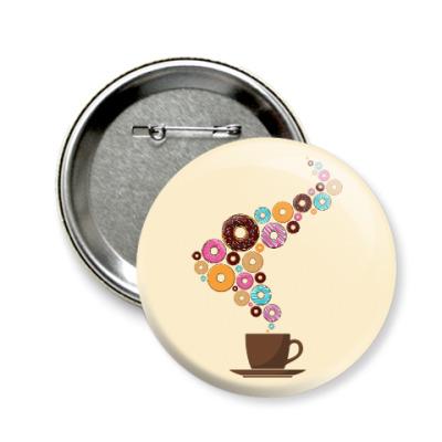 Значок 58мм Кофе с пончиками