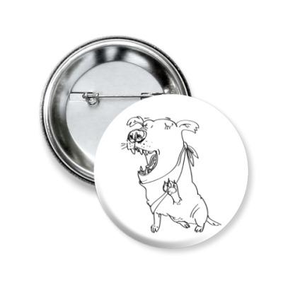 Значок 50мм Собака (зевающая, смеющаяся или поющая)