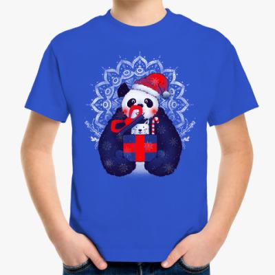 Детская футболка Новогодняя панда и кот