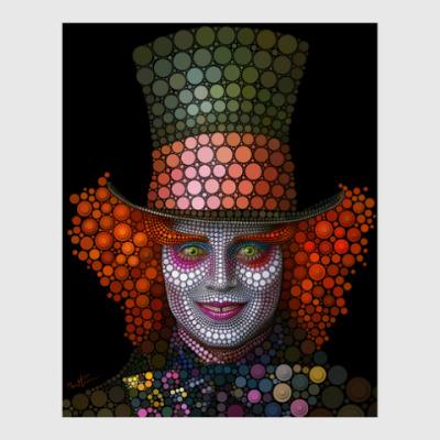 Постер Безумный шляпник Тима Бёртона