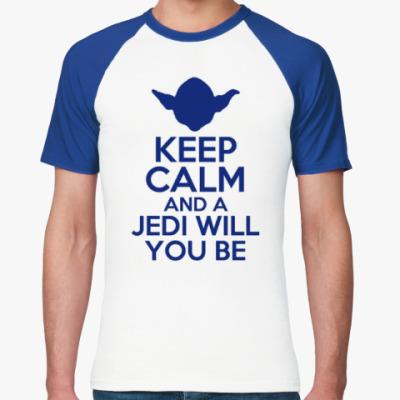 Футболка реглан Keep calm and Yoda