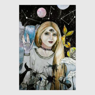 Постер Сюрреалистичный портрет, космос, планеты, звезды