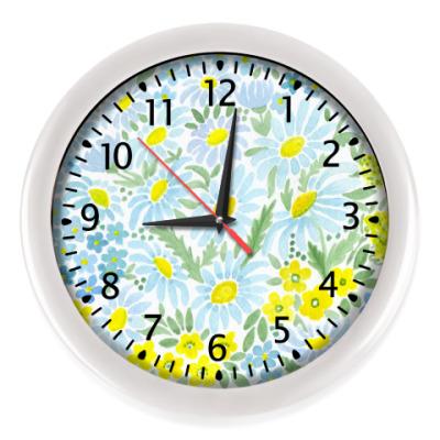 Настенные часы Акварель . Ромашки . Утро .