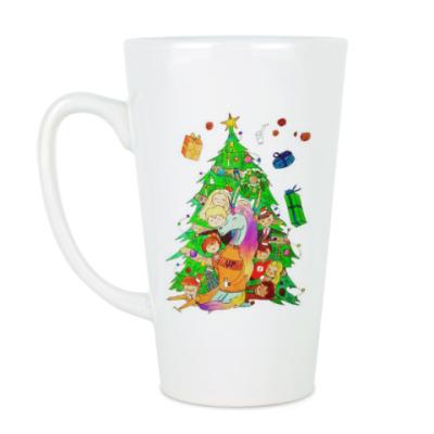 Чашка Латте Новогодний единорог