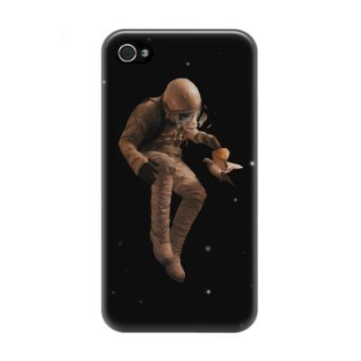 Чехол для iPhone 4/4s Космонавт с голубем