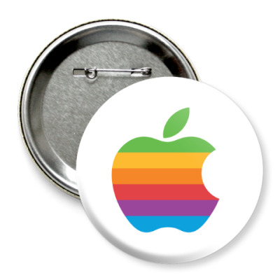 Значок 75мм  Apple Rainbow