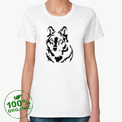 Женская футболка из органик-хлопка Белый волк