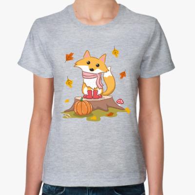 Женская футболка Лиса и осень