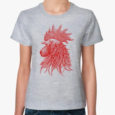 Женская футболка Красный петух символ Года