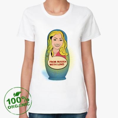 Женская футболка из органик-хлопка матрешка