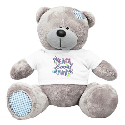 Плюшевый мишка Тедди Мир, Любовь, Веселье!